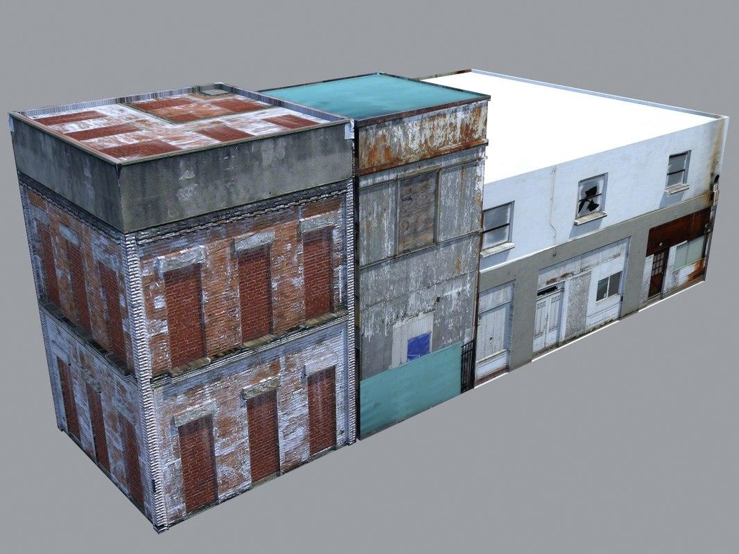 3d dilapidated buildings