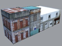 dilapidated buildings 3d model