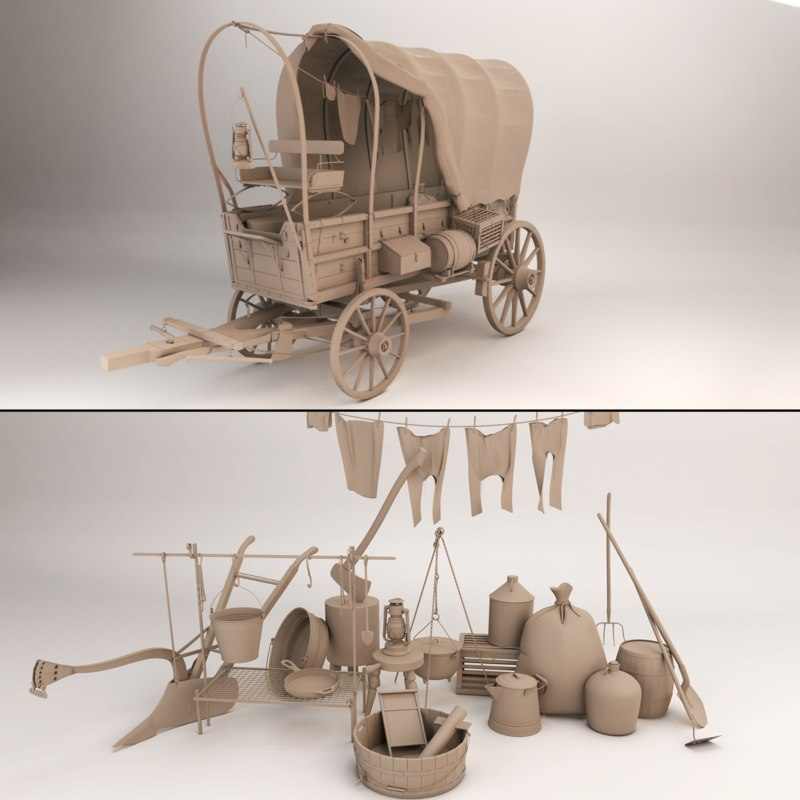 3d model covered wagon