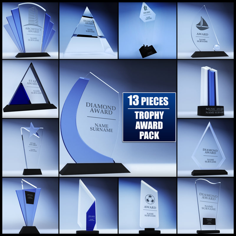 3d model of pack trophy award cup