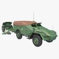 3d model btr-40 m-30 artillery