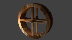 realistic waterwheel 3d model