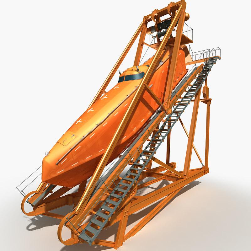 3ds freefall lifeboat davit ramp