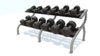 dumbbell rack 3d obj
