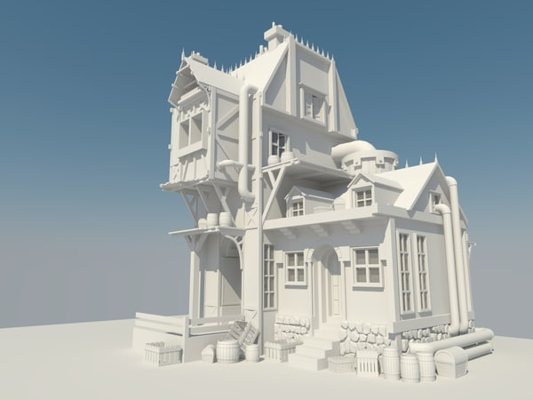 3d model medieval steampunk house