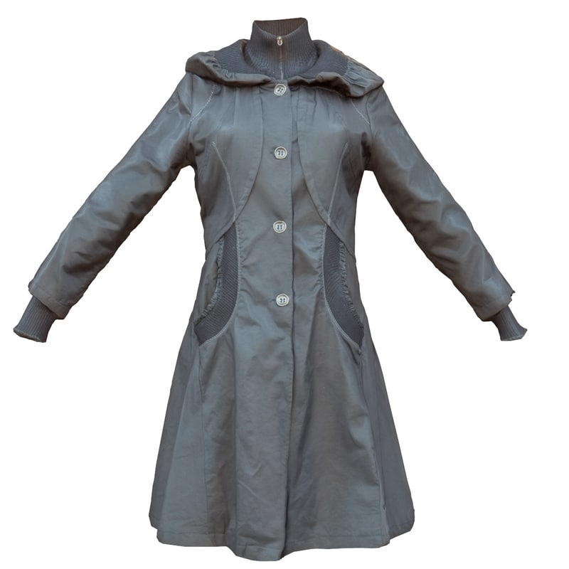 black woman s coat 3d obj