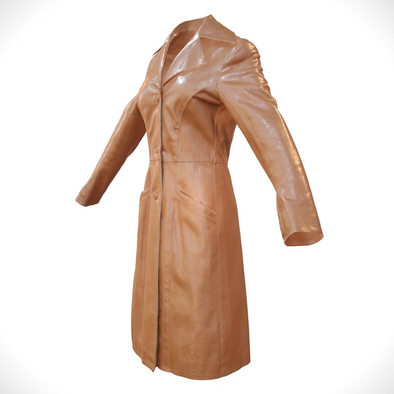 3d obj brown leather coat closed