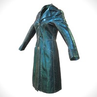 blue leather coat closed 3d model