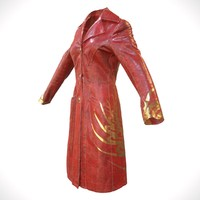 obj red leather coat closed