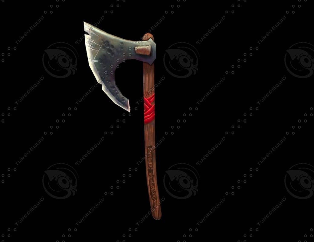 hand painted war axe obj