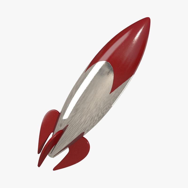 retro rocket 3d model
