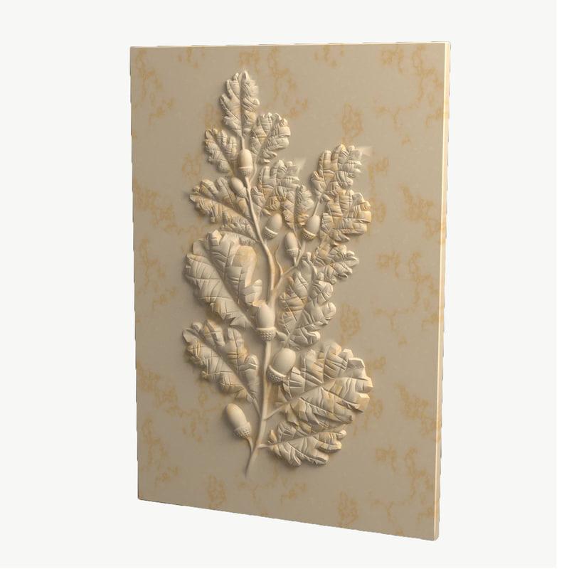 3d obj oak relief