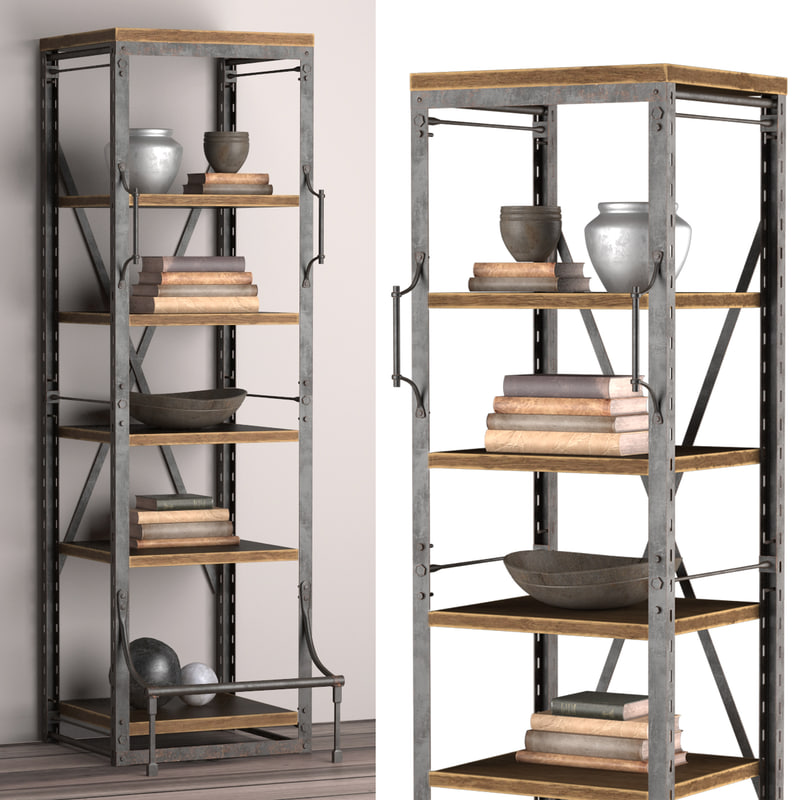 3d narrow rack french library model