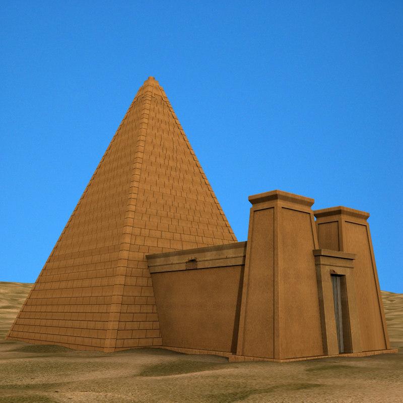 3d model sudanese nubian pyramid