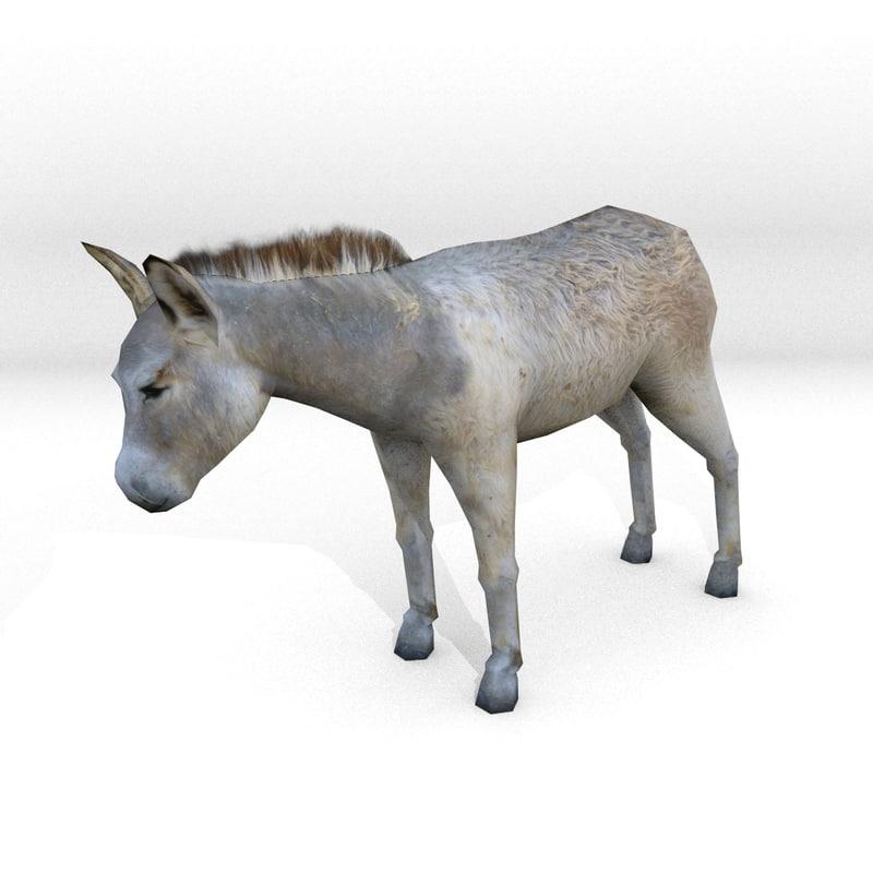 low-poly donkey 3d model