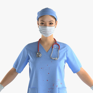 3d max asian female surgeon stained