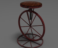 kitsch shabby chic bar stool 3d model