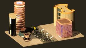 futuristic city 3d model