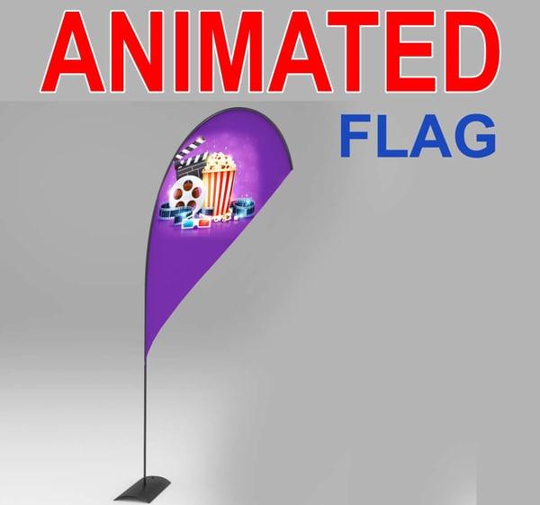 advertising flags 3d fbx