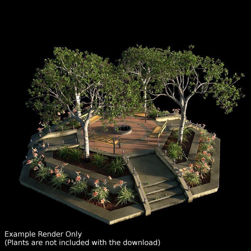 large garden bed 3d blend