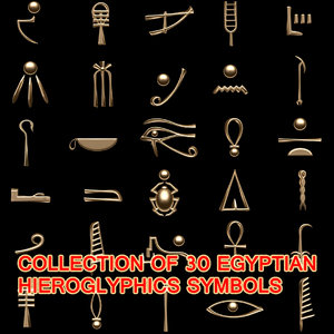 egyptian hieroglyphics symbols 3d model