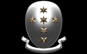 3d model star shield ribbon
