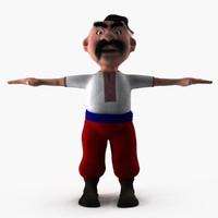 cartoon ukrainian man rigged 3d max