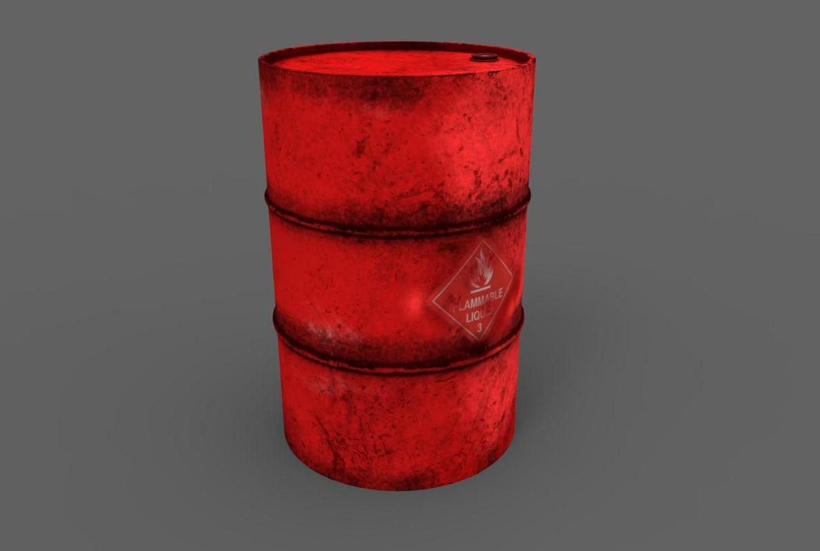 3d old oil barrel model