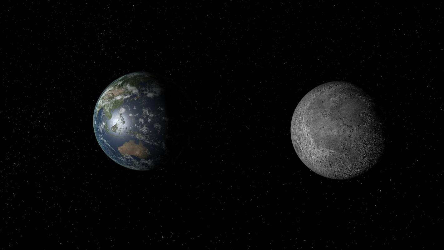 3d model moon resolution earth