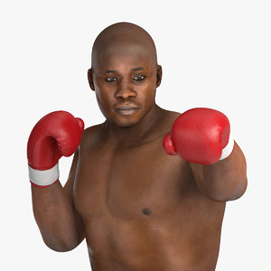 african american boxer red 3d c4d