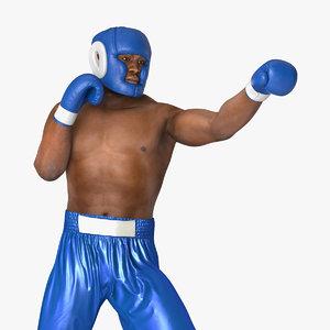 african american boxer pose 3d model