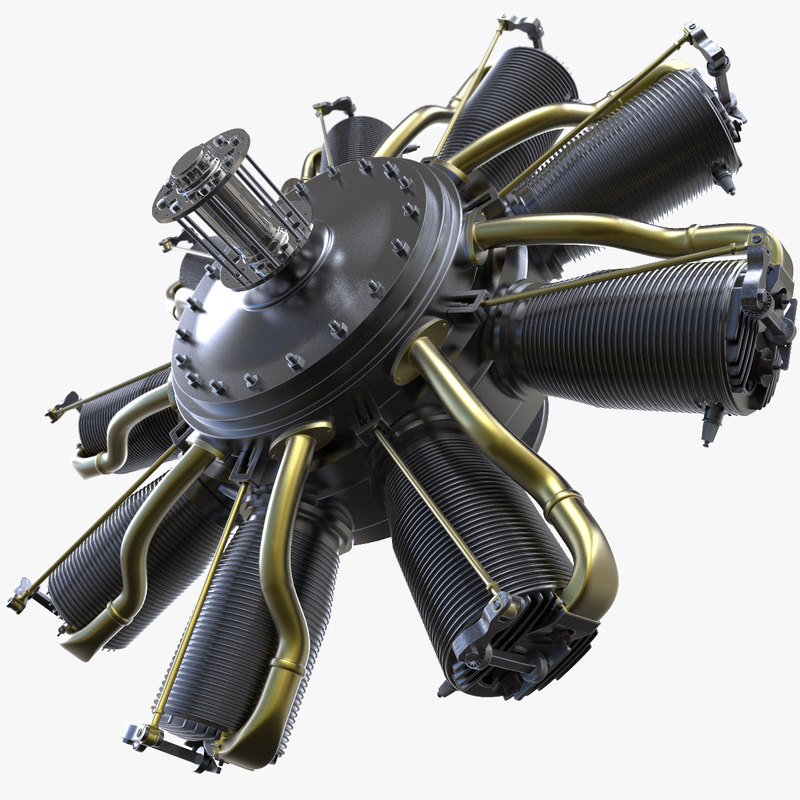 3d rhone engine aircraft motor