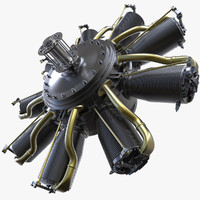 3d rhone engine aircraft motor