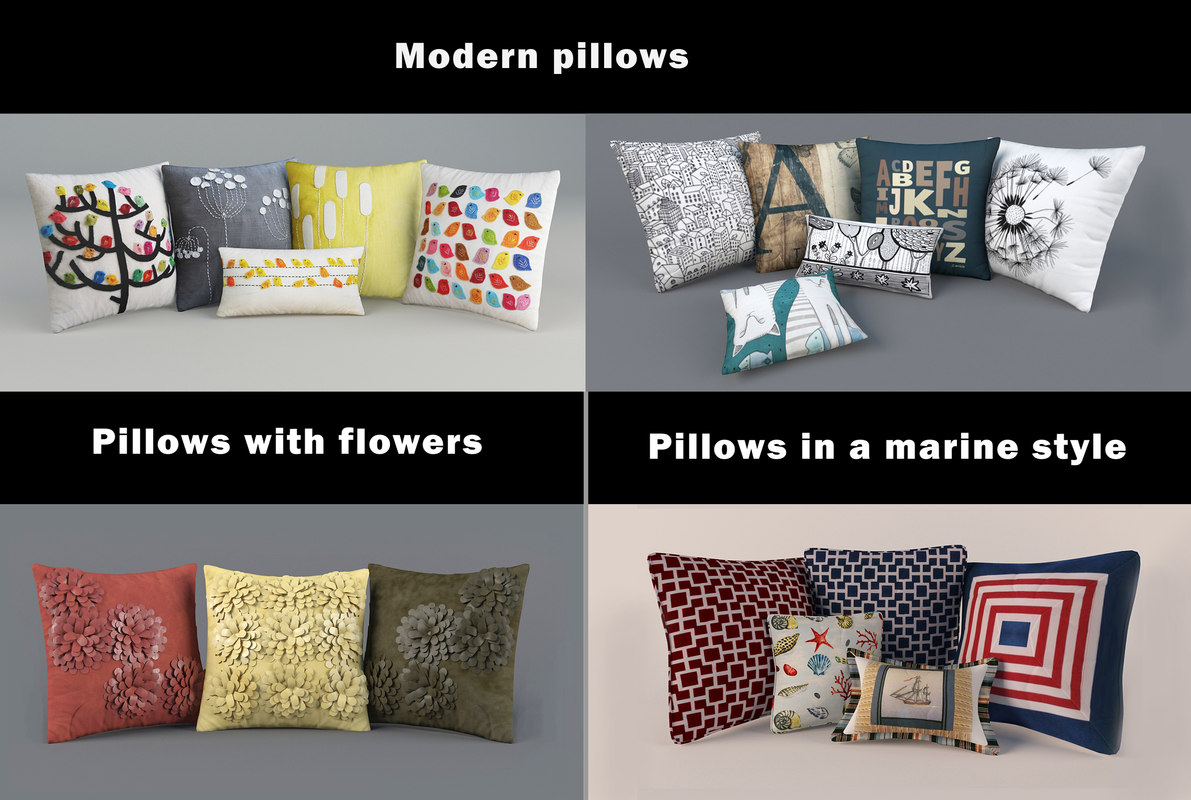 3d pillow set modern