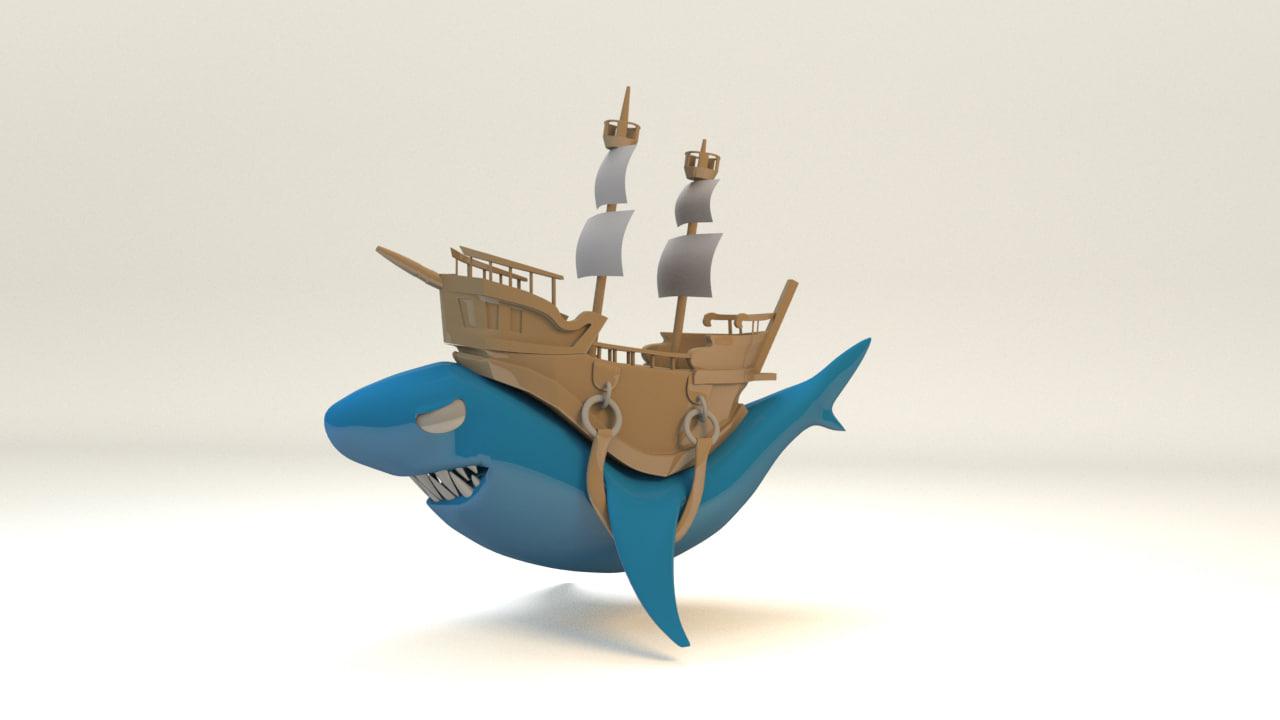 cartoon pirate ship 3d fbx