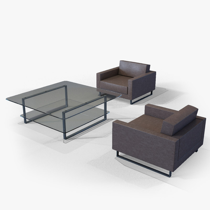 armchairs table 3d model