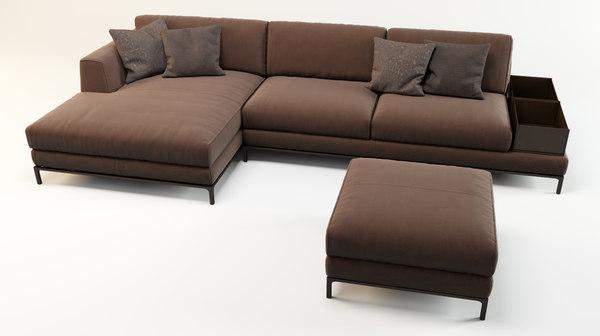 3d sofa artis leather model