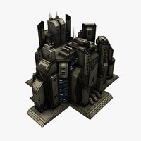 sci-fi city structure 2 3ds