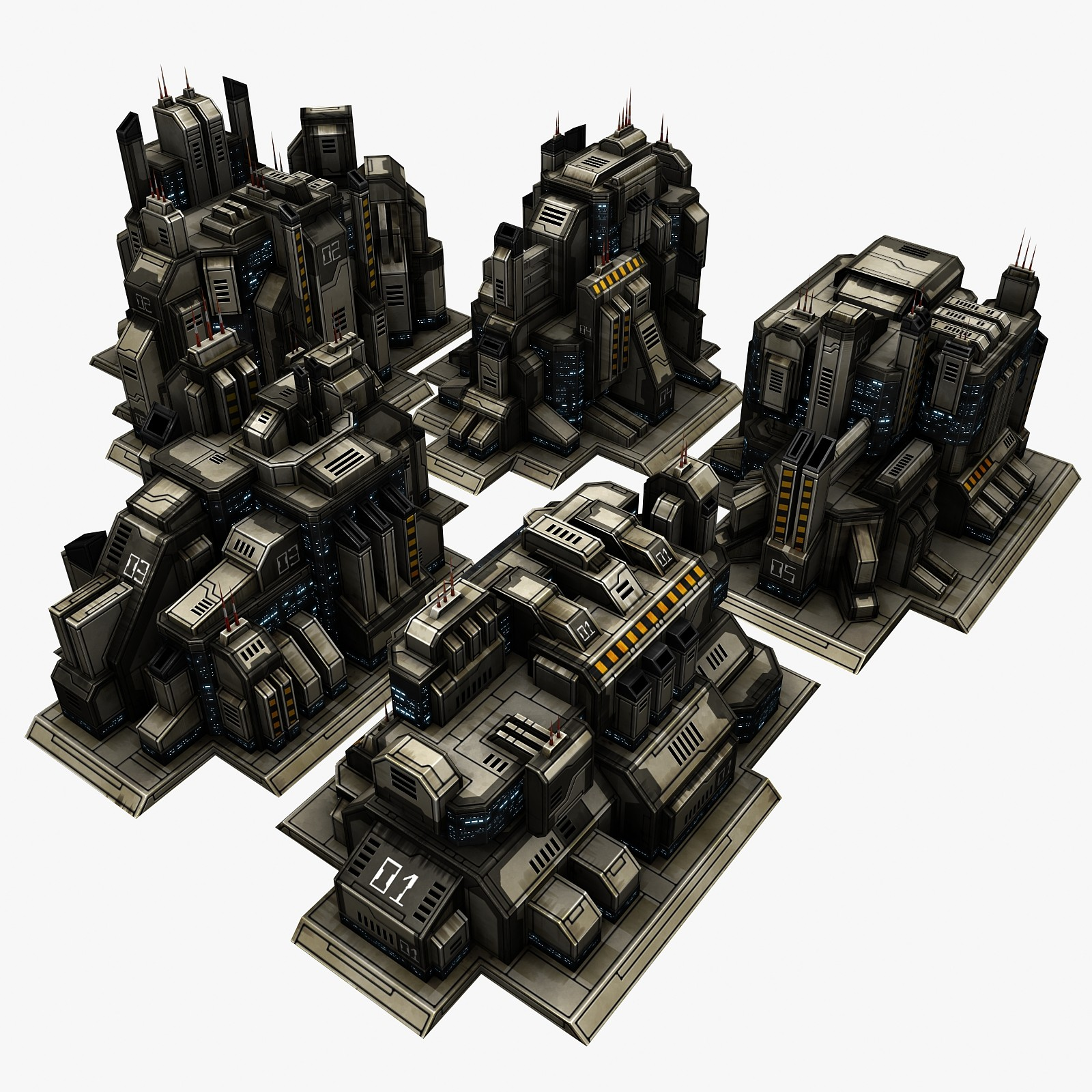 3d model of sci-fi city 5 buildings
