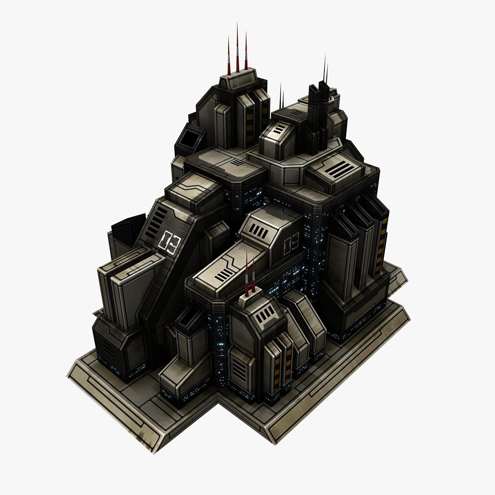 sci-fi city structure 3d obj