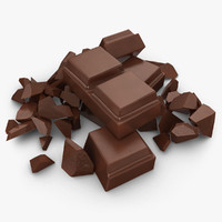 realistic broken chocolate bar 3d max