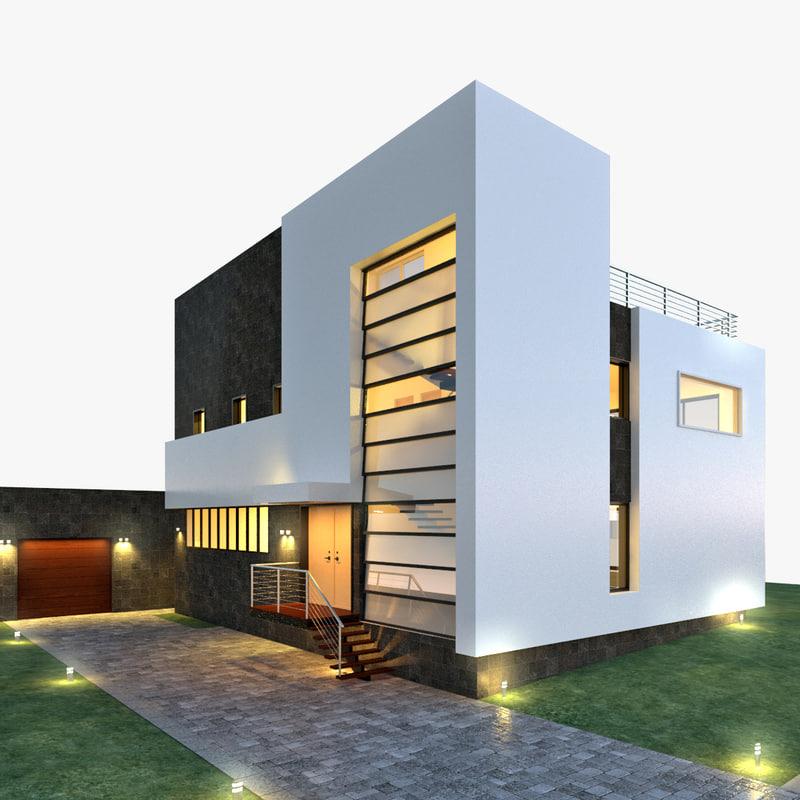 Modern home house 3d model for Modern house 3d model