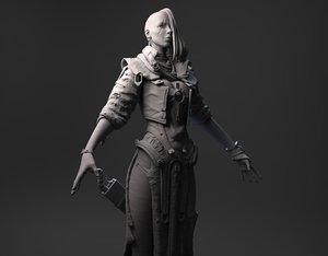 fantasy female character 3d model