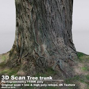 taxodium poplar tree trunks 3d obj