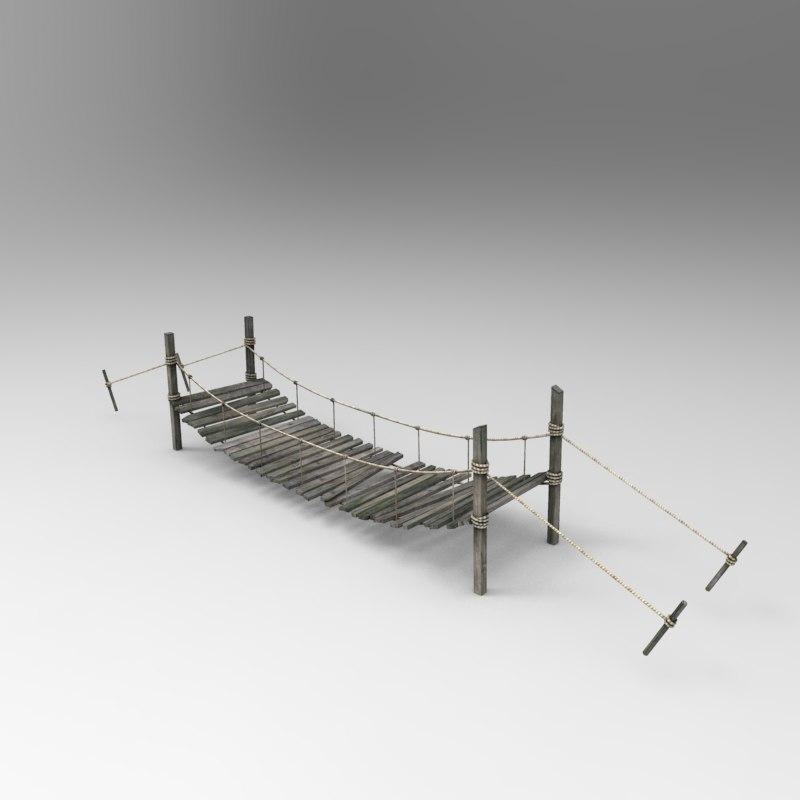 3d model of wooden bridge