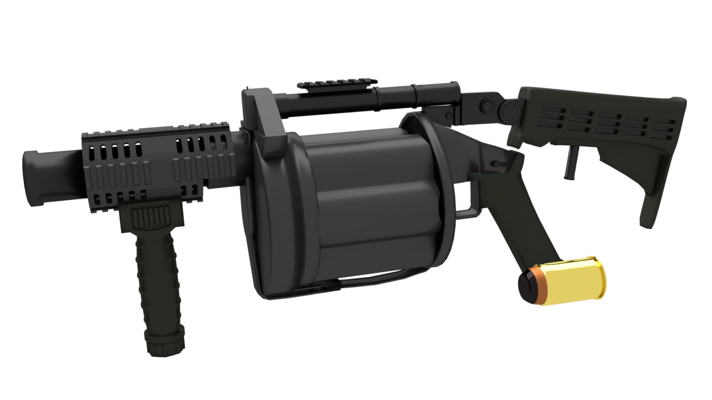 3d model of grenade launcher