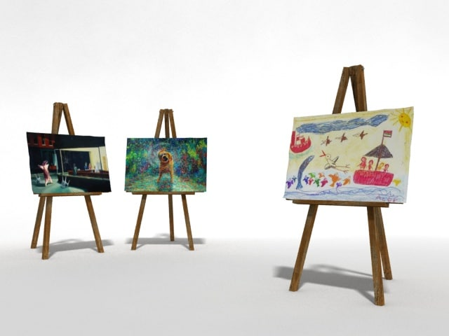 3d easel displaying painters model