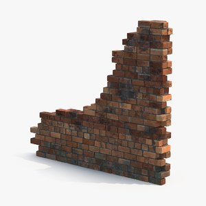 3d model dirty brick wall section