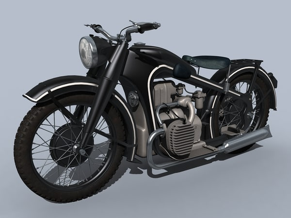 3d model european retro motorbike