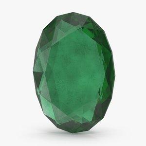 3d model oval emerald